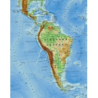 Фізична карта світу ламінована 1:35 000 000