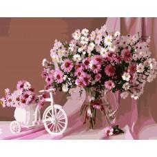 Картина по номерах VA-0565 Рожевий букет, розміром 40х50 см