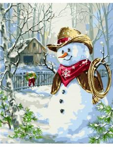 Картина по номерам VA-1421 Сніговик-ковбой, розміром 40х50 см