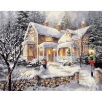 Картина по номерах VA-1594 Садиба під снігом на Різдво , розміром 40х50 см