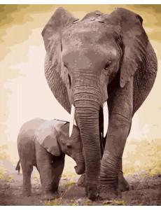 Картина по номерам VA-2118 Слон та слоненя, розміром 40х50 см