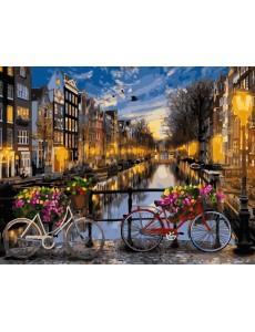 Картина по номерам VA-2128 Вечірній канал Амстердама, розміром 40х50 см