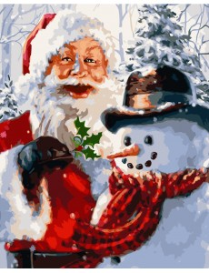 Картина по номерам VA-2151 Санта та сніговик , розміром 40х50 см