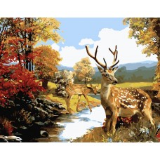 Картина по номерам VA-2247 Олені в лісі , розміром 40х50 см