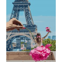 Картина по номерам VA-2250 Дівчинка у Парижі , розміром 40х50 см